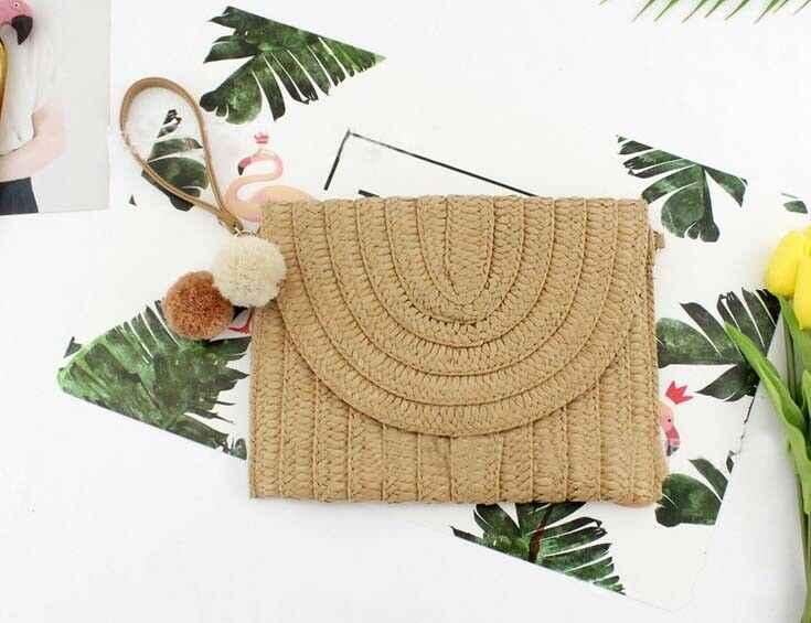 Frauen Mädchen Rattan Stroh Tasche Woven Quadrat Handtasche Crossbody Strand Sommer Bali Insel Böhmen Boho Klappe Messenger Taschen