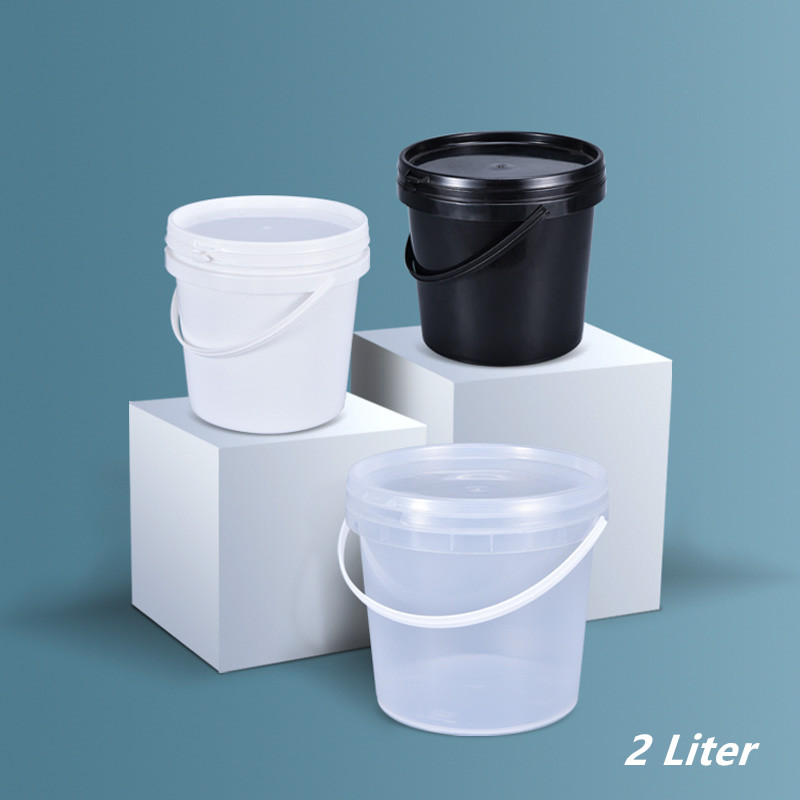Food Grade 2L Plastic Pail With Handle And Lid Round Bucket Container For Food,biscuit,popcorn,paint 1PCS