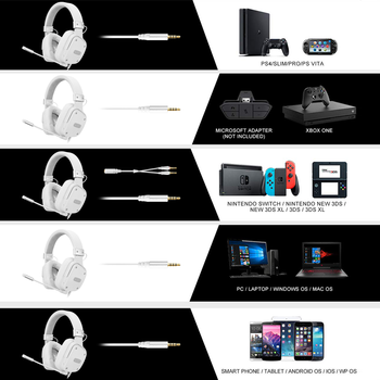 SADES Gaming Headset Snowolf 3.5mm Jack For PC/laptop/PS4/Xbox One (2015 Version)/Nintendo Switch/VR/Mobile 2