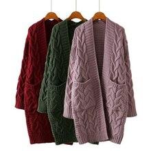 OEAK 2019 New Autumn Winter Womens Loose Long Sleeve Korean Knit Sweater Cardigan Coat Thick Women Cardigans