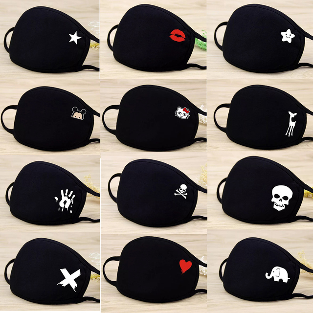 Unisex Mouth Mask Solid Black Print Kawaii Face Cover Half Fashion Cute Breathable Warm Cotton Windproof Anti-Dust Masks