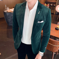 Autumn and winter British style trend Avene corduroy suit jacket male Korean version of the slim hair stylist small suit