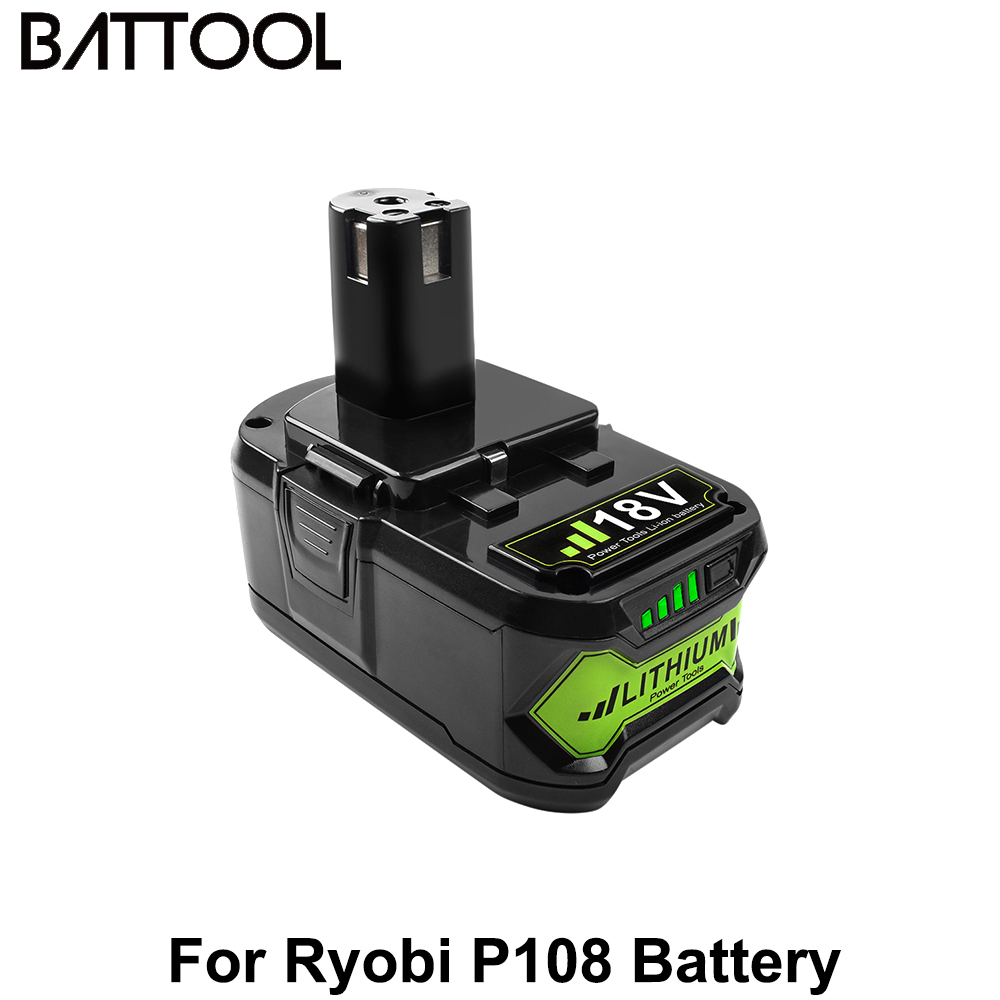 Battool 4000mah 18V Lithium For Ryobi 18V P108 Li-Ion Rechargeable Power Tools Battery Replacement RB18L40 P107 P104 BIW180