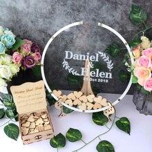 Персонализированная акриловая круглая Свадебная Гостевая книга, украшение, деревенская круглая коробка, Свадебная коробка, 3D Гостевая кни...