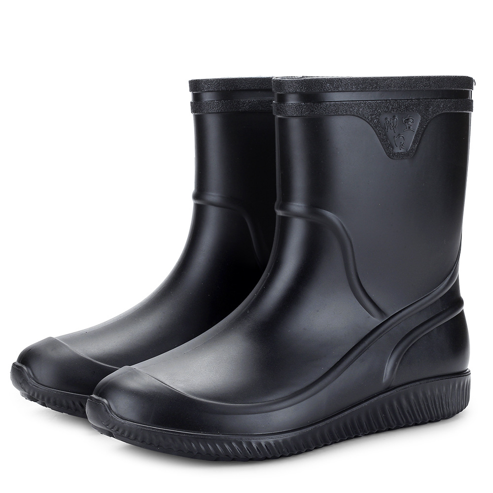 2019 Non-slip Waterproof Rain Boots Thick Plastic Men Boots  Men Shoes Zapatos De Hombre Men Shoes Work Boots Fishing Shoes