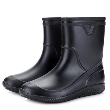 2019 Non-slip Waterproof Rain Boots Thick Plastic Men Boots  Men Shoes Zapatos De Hombre Men Shoes Work Boots Fishing Shoes