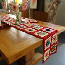 Pastoral Colourful Table Flat table runner Handmade Hand Hooked Crochet Blanket Cushion Felt Bay Window Blanket Gift cup mats
