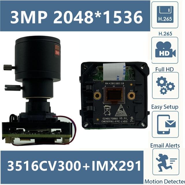 H.265 3MP 2048*1536 IP StarLight kamera modülü kurulu 3516C + IMX291 balıkgözü 2.8 12 IRC XMEYE CMS ONVIF P2P bulut gözetim