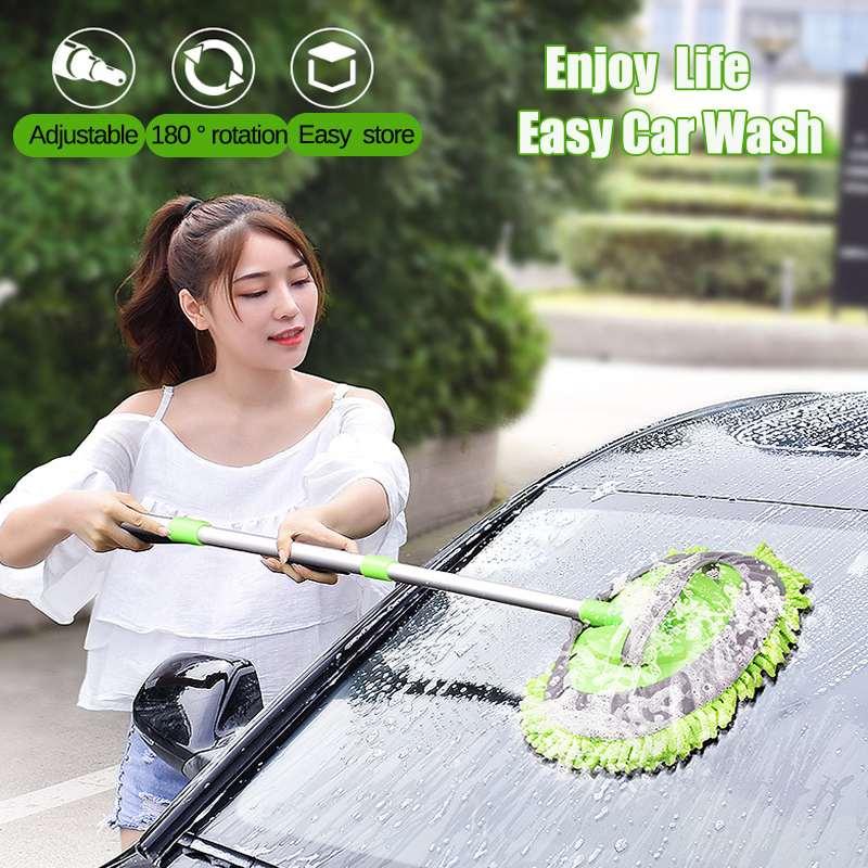 2 in 1 Car Wash Cleaning Brush Microfiber Soft Car Washing Mop Window Door Wash Tools Aluminum Alloy Long Handle Retractable