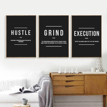 Grind Hustle Execution Motivational Posters and Prints Office Decor Modern Art Entrepreneur Motivation Canvas Painting Pictures image