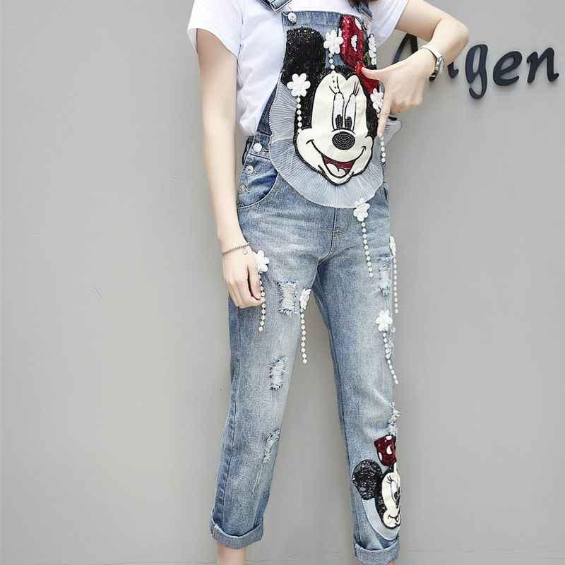 2020 ผู้หญิงการ์ตูนเย็บปักถักร้อย Sequined ขากว้างหลวม Ripped DENIM Overalls ยุโรป Jumpsuit Boyfriend Hole กางเกงยีนส์ Romper