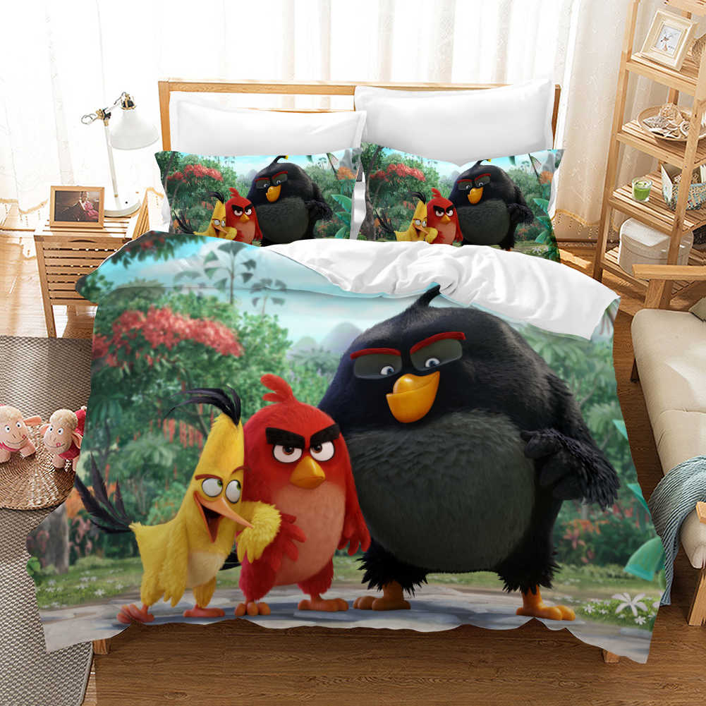Angry Birds Cartoon Bedding Set Duvet Covers Pillowcases Angry Birds Puzzle Game Comforter Bedding Sets Bedclothes Bed Linen