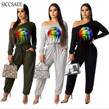 2019 Autumn Winter New Arrivals Rainbow Multicolor Lips Printed Rompers Womens Jumpsuit Palazzo Long Pants Pinup Sleeved Overalls Sexy One Piece Macacao Feminino Curto Casual Off Shoulder Loose