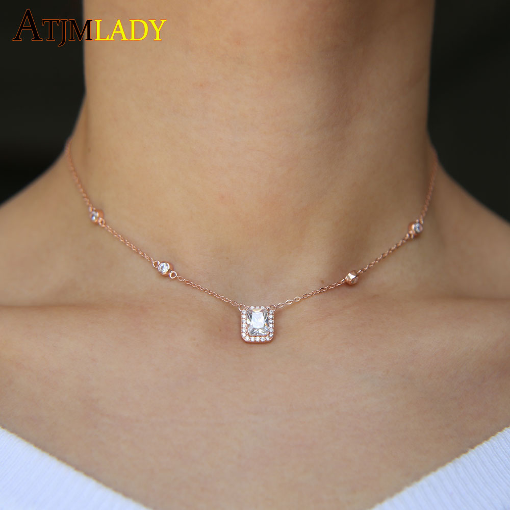 New Rose Gold Color 925 Sterling Silver Metal Fine Wedding Jewelry Sparking Bling Square Cubic Zirconia Cz Elegant Necklace