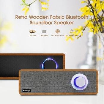 Hifi Smalody Portable Wooden Wireless Speaker Bluetooth 4.2 PC Speaker 2.1 Stereo Mini Subwoofer Soundbar MP3 Music Loudspeaker