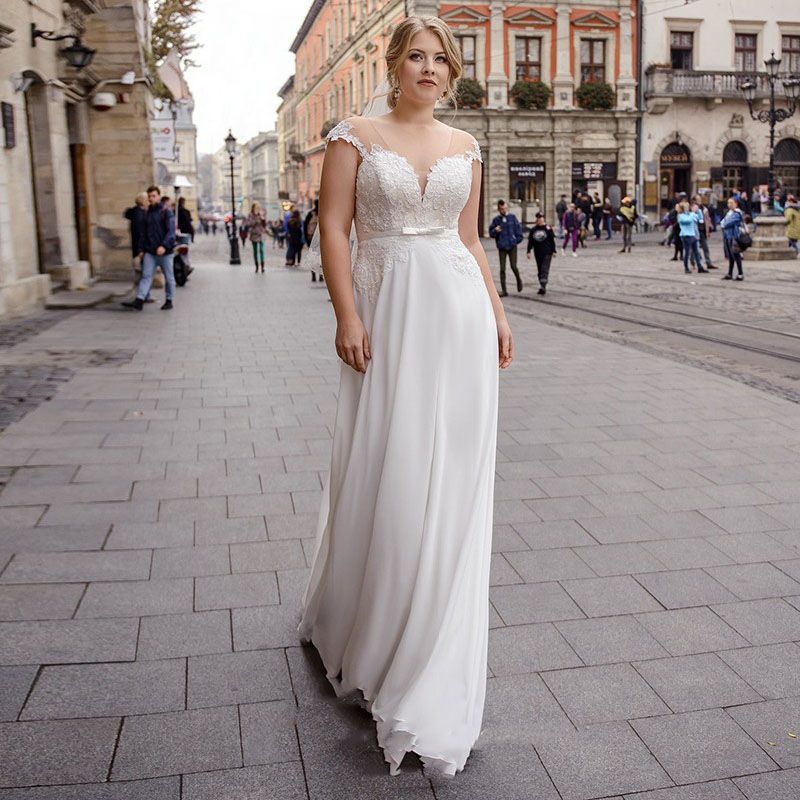 Eightale Plus Size Wedding Dress V-Neck Appliques Lace Top Chiffon Skirt Lace Up Back Simple Wedding Gowns Beach Bridal Dress