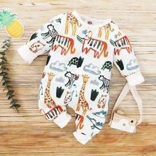PatPat Baby Animal Allover Jumpsuits for Long-Sleeve Baby To