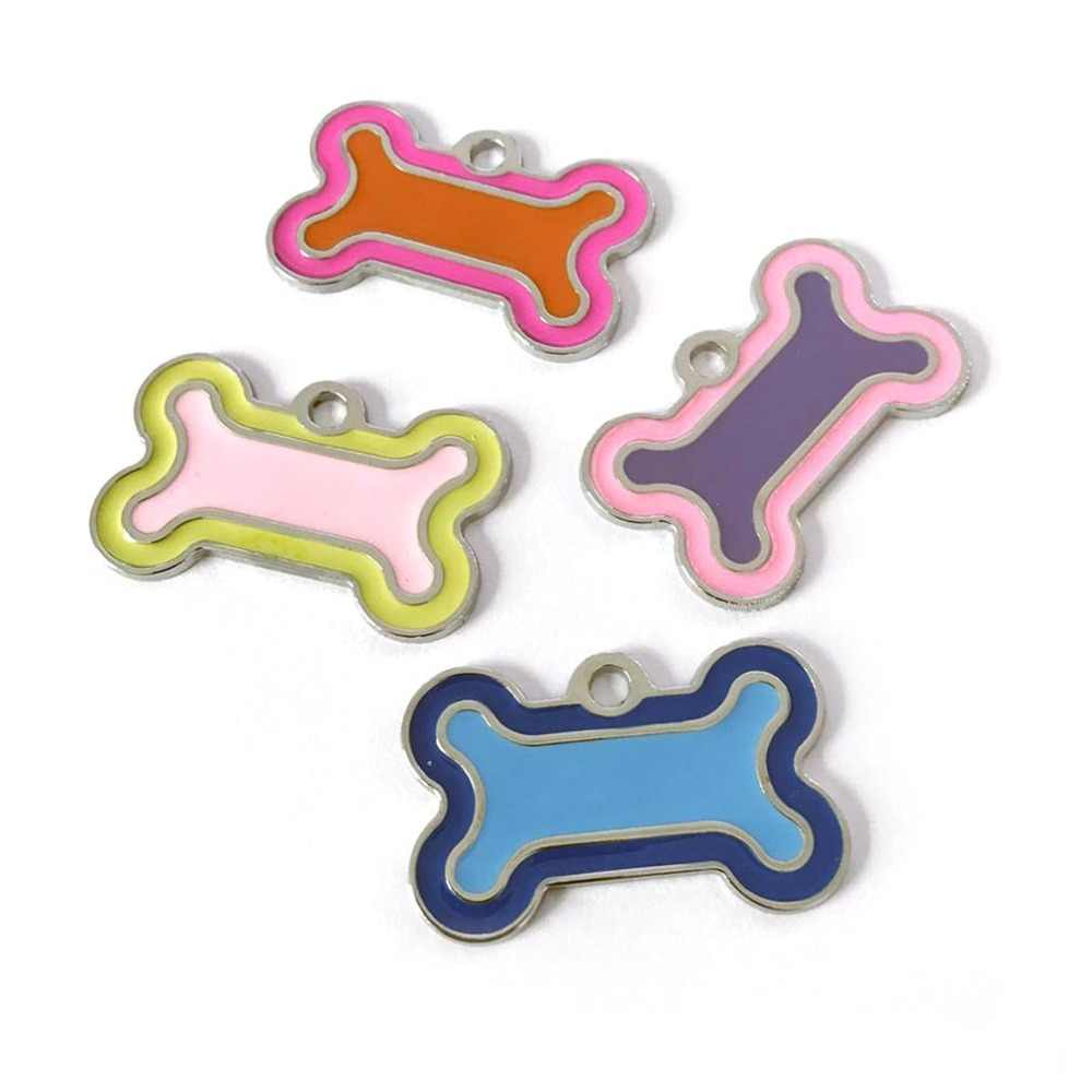 개 id 태그 새겨진 금속 맞춤형 애완 동물 태그 작은 대형 개 액세서리 맞춤 뼈 발 이름 태그 플레이트 칼라 장식