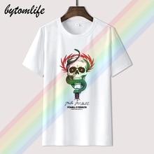 Tee Shirts Skateboard Bones Brigade Powell Peralta Tops Black Summer Cotton O-Neck Sticker