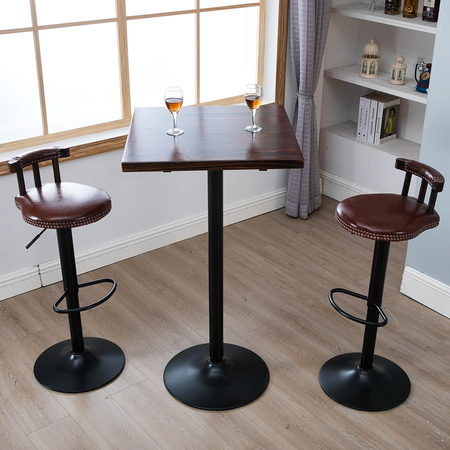 Bar Table Solid Wood High Footstool Bench Bench Table And Chair Combination Small Table Simple Home BarRound Table Carbonization