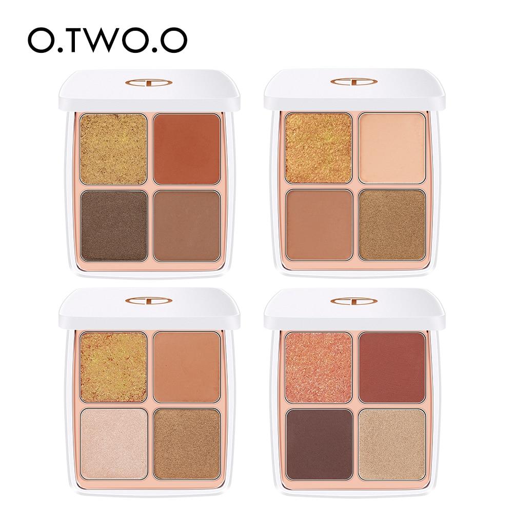 O.TWO.O 4pcs/set Eyeshadow Pallete Matt Shinning Giliter Waterproof Pigment Shimmer Eye Shadow Pallete Powder Cosmetic Tool