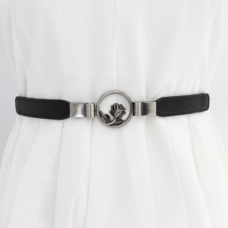 Women Belt Retro Concise All-match PU Leather High-elastic Flower Decoration Buckle Waistband Thin Belt For Dress