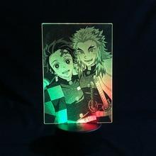 Anime 3D Lamp Acrylic Led Night Light Demon Slayer Tanjiro Kamad Rengoku Kyoujuron Illusion Table Lamp Bedroom Decor Lighting