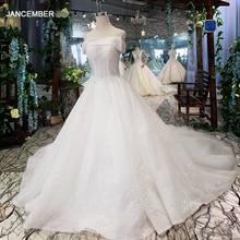LSS505 vestidos de novia sin tirantes boho off shoulder corset blanco brillante vestidos de boda con el tren nueva moda de los pies de las bolitas