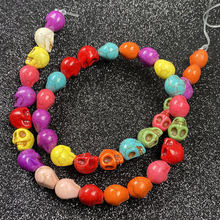 Natural stone skull shape beads mix color charms small hole