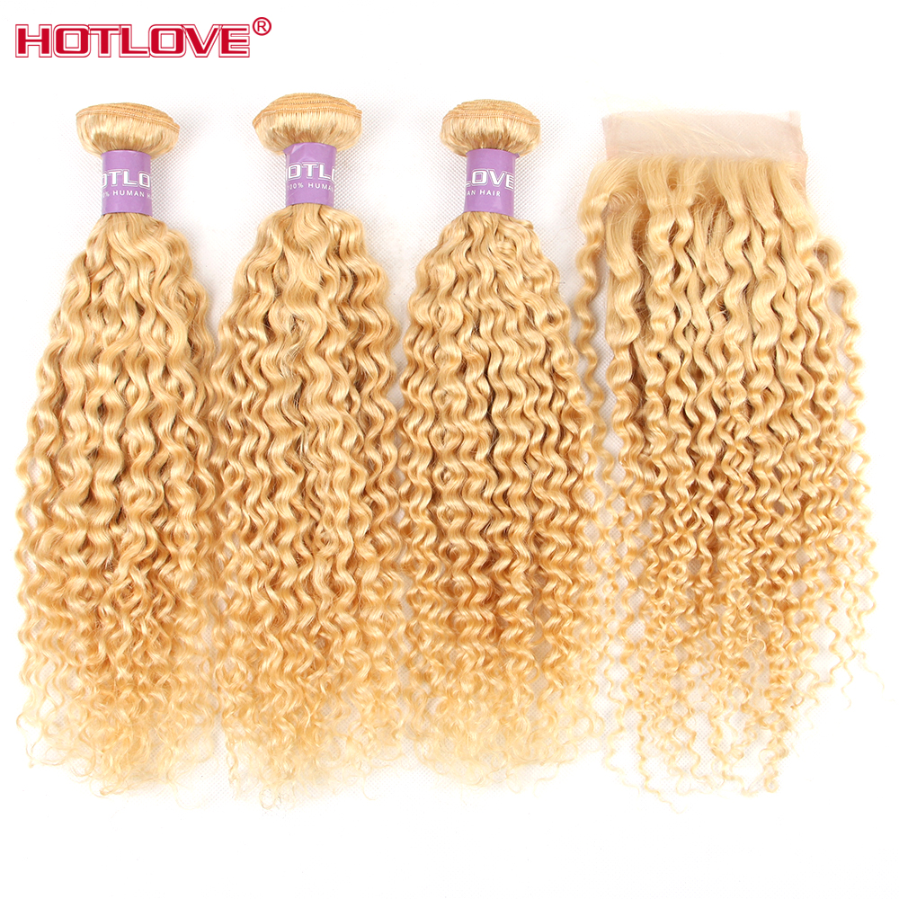 Kinky Curly 613 Blonde 3 Bundles With Lace Closure Free Part Peruvian Honey Blonde Human Hair Bundles HOTLOVE Non Remy image