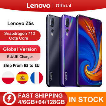 Küresel sürüm Lenovo Z5s Snapdragon 710 Octa çekirdek 64GB 128GB SmartPhone yüz kimliği 6.3 AI üçlü arka kamera android P cep telefonu