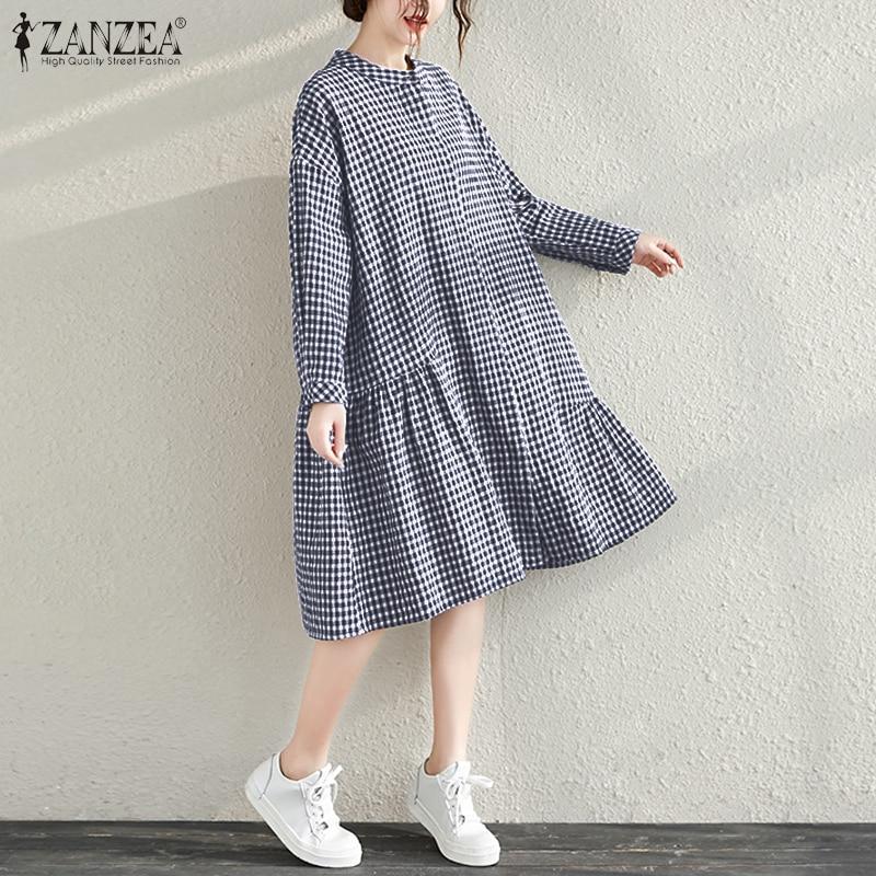 Elegant Check Shirt Dress 2020 ZANZEA Women Casual Ruffled Sundress Long Sleeve Plaid Vestidos Female Robe Femme Plus Size 5XL