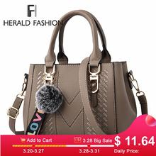 Embroidery Women Handbags with Fur Ball Designer PU Leather