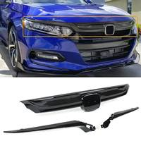 Glossy Black/Carbon Fiber Sport Style Front Grille Bumper Hood Grille Cover With Chrome Garnish For Honda For Accord 2018 2019