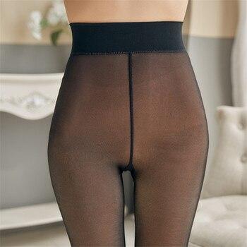 CHRLEISURE Thick Velvet Leggings Women High Waist Through The Meat Warm Casual Pants Women Slim Winter Elasticity