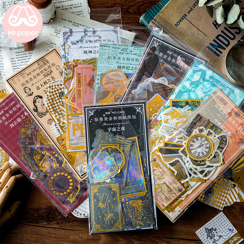Mr.paper 8 Designs 60Pcs/lot Gold Stamping Middle Ages Revival of Letters Stickers Scrapbooking Bullet Journal Deco Stickers