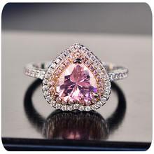 925: Серебряный розовый в форме сердца кольца для женщин роскошная
