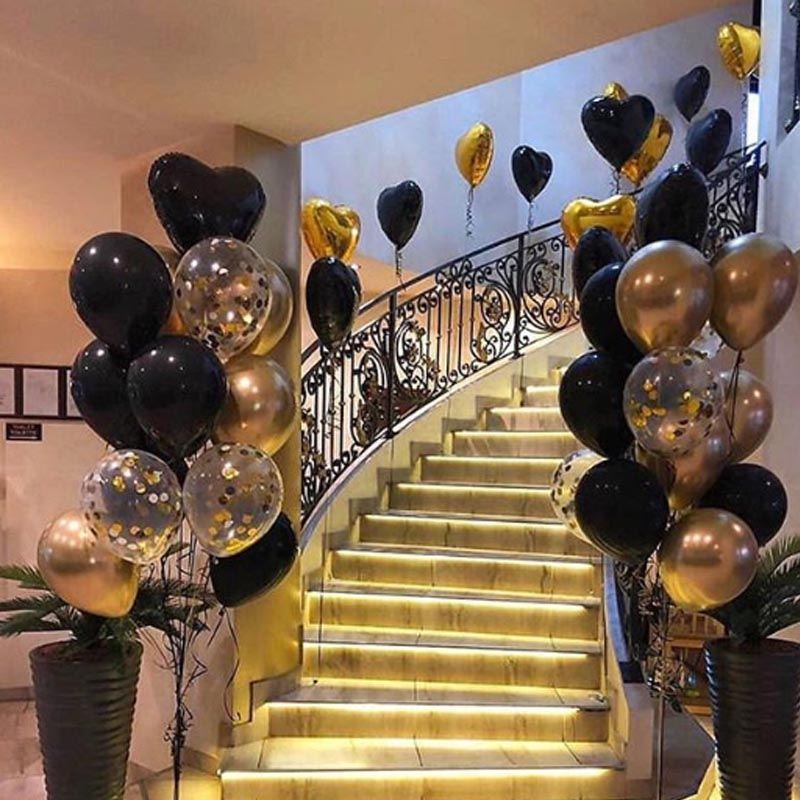 15pcs Gold And Black Metal Latex Balloons For Birthday Party Decorations 1