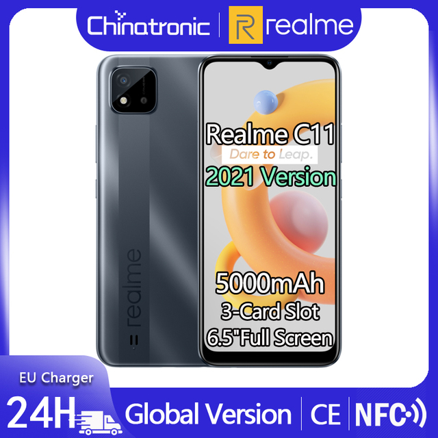 """realme C11 2GB 32GB Global Version Android 10 Mobile Phone 6.5""""HD 5000mAh 8MP AI Camera 10W EU Charger 3-Card Slot NFC In Stock 1"""