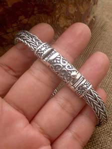 Bracelet 925-Sterling-Silver S925 8mm Pure Men for Thai Vintage Old Hand-Woven