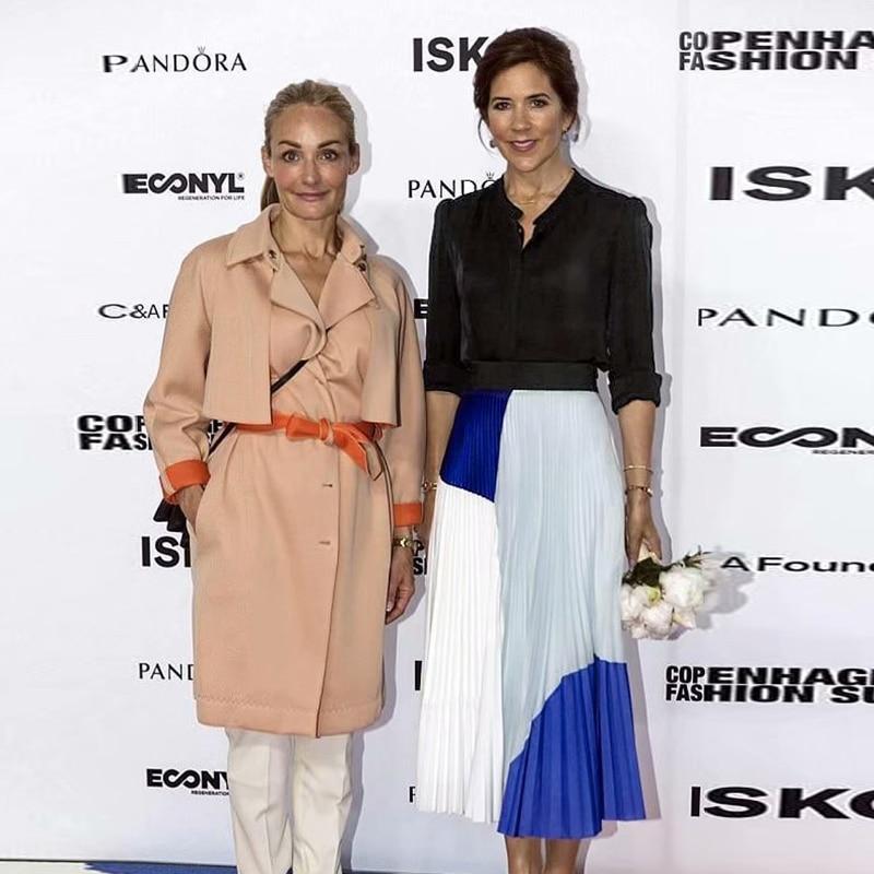 Принцесса Мэри Дания 2020 весна мода для вечеринок высокое качество элегантная женская одежда комплект Повседневная рубашка плиссированная ...