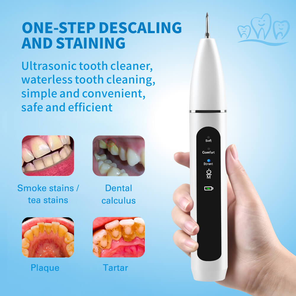 AZDENT Electric Ultrasonic Dental Scaler USB Rechargeable Teeth Cleaner Tooth Calculus Remover Waterproof Teeth Whitening Floss
