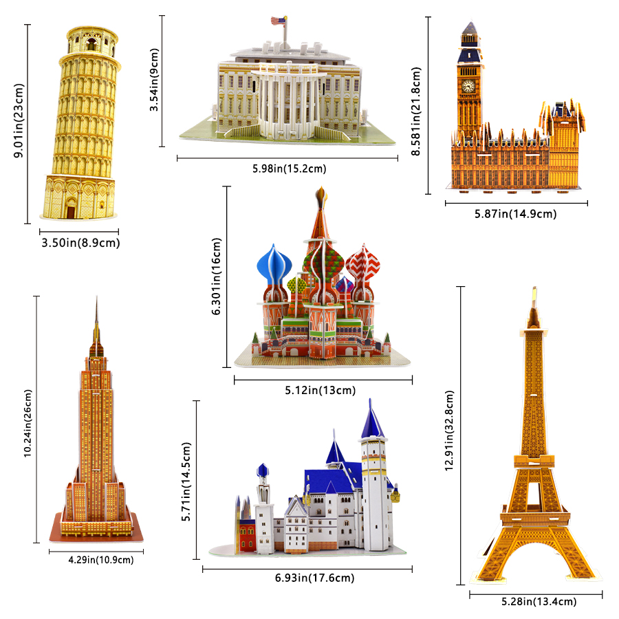 Image 3 - Carboard Building Model 3D Toys Puzzles for Kids DIY World Famous Tower Bridge White House Jigsaw Puzzle Educational Toys Gifts-in Puzzles from Toys & Hobbies