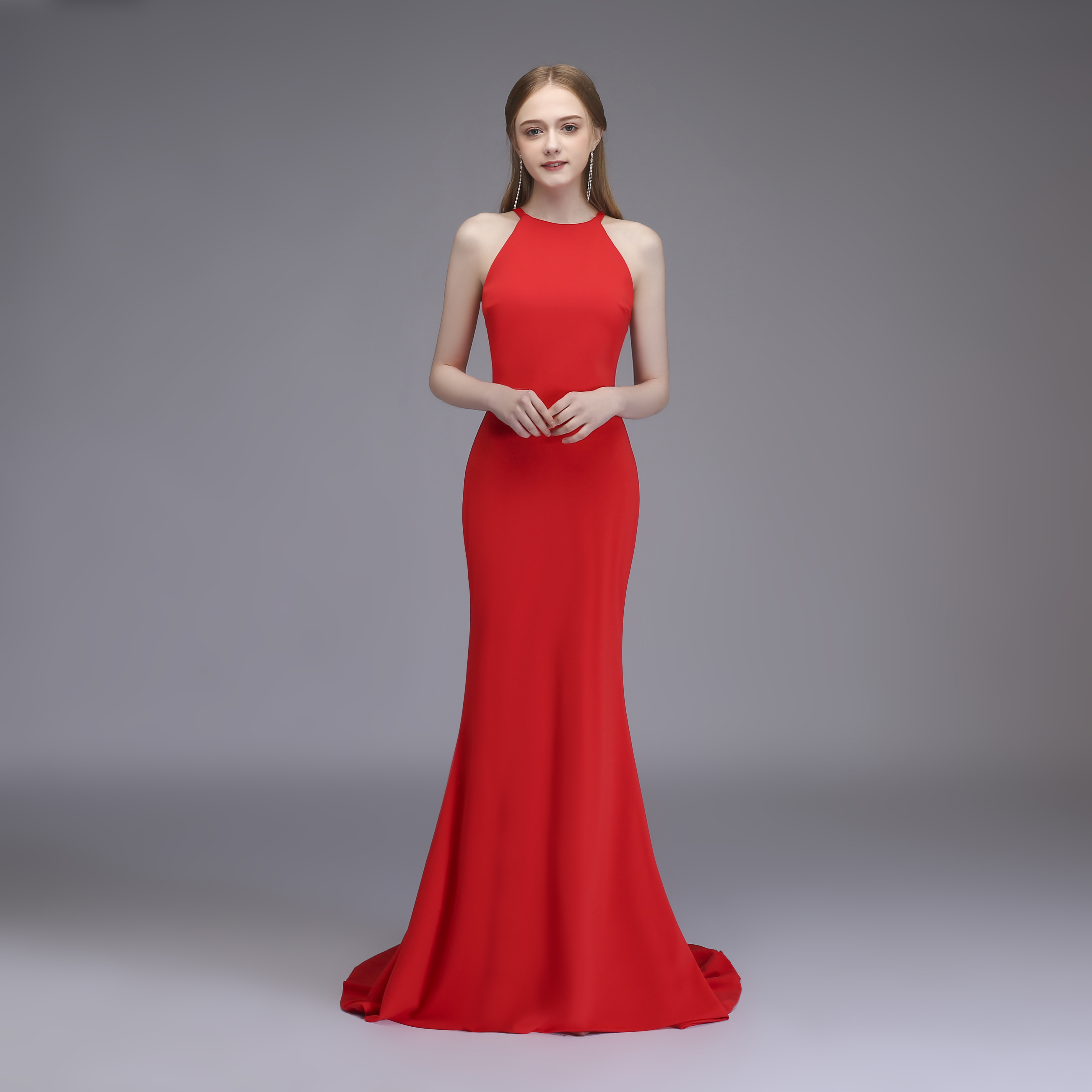 Sleeveless Long Evening Dress Chiffon Red Prom Party Dresses Formal Women Gown Elegant Mermaid Dress For Wedding Party Hot Sale