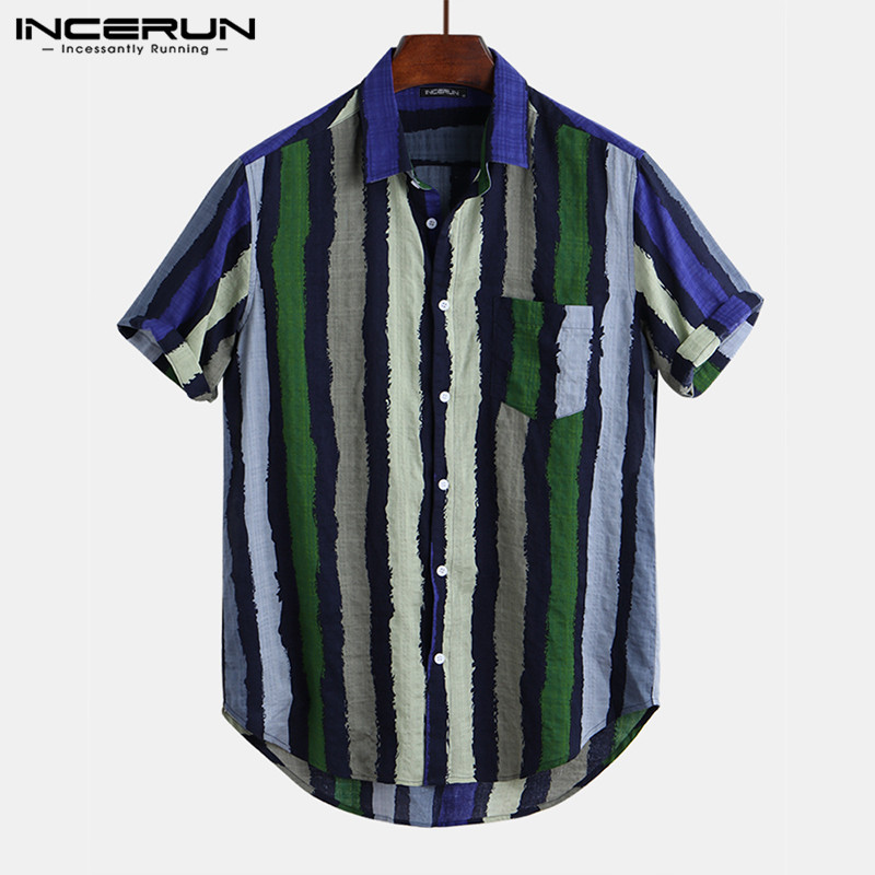 INCERUN <font><b>Men</b></font> <font><b>Striped</b></font> <font><b>Shirt</b></font> <font><b>Short</b></font> <font><b>Sleeve</b></font> Streetwear Tops Retro Breathable Casual Hawaiian <font><b>Shirts</b></font> <font><b>Men</b></font> 2020 Camisa Masculina S-5XL image