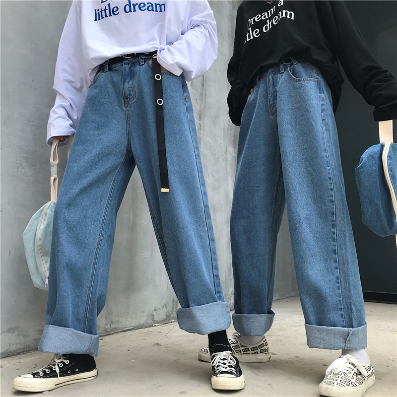 2020 High Waist Jeans Pants Women 2019 Boyfriend Jeans For Women Harajuku Denim Harem Pants Ladies Wide Leg Blue Jeans Pants
