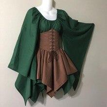цены Medieval Costume Women 2 Piece Set Long Woodland Elf Fairy Fantasy Waist Cincher Corset Set Top And Jagged Skirts Set