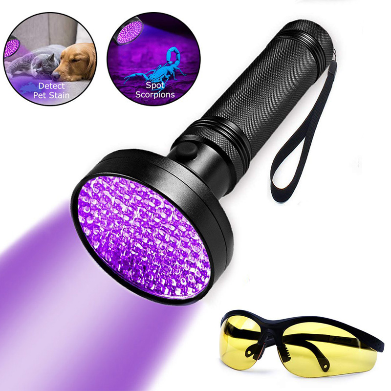 100 LED <font><b>UV</b></font> Blacklight Flashlight Super Bright 10 W <font><b>395</b></font> <font><b>nm</b></font> Violet Ultra Hand Lamp <font><b>UV</b></font> Torch Light For Money ,Bed Bugs, Scorpions image