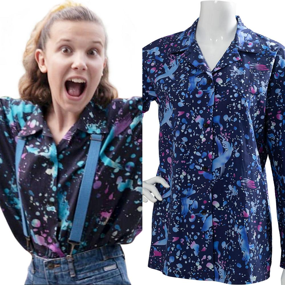 Stranger Things Eleven EL Dress Eleven Pink dress Blue Jacket Cosplay