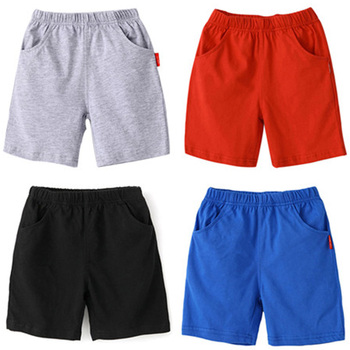 Boys Shorts Solid Colors Kids Boy Cotton Beach Short Sports Pants Children Elastic Waist Pants Toddler Summer For Baby Clothing 1